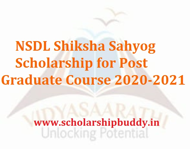 NSDL Shiksha Sahyog Scholarship for Post Graduate Course 2020-2021